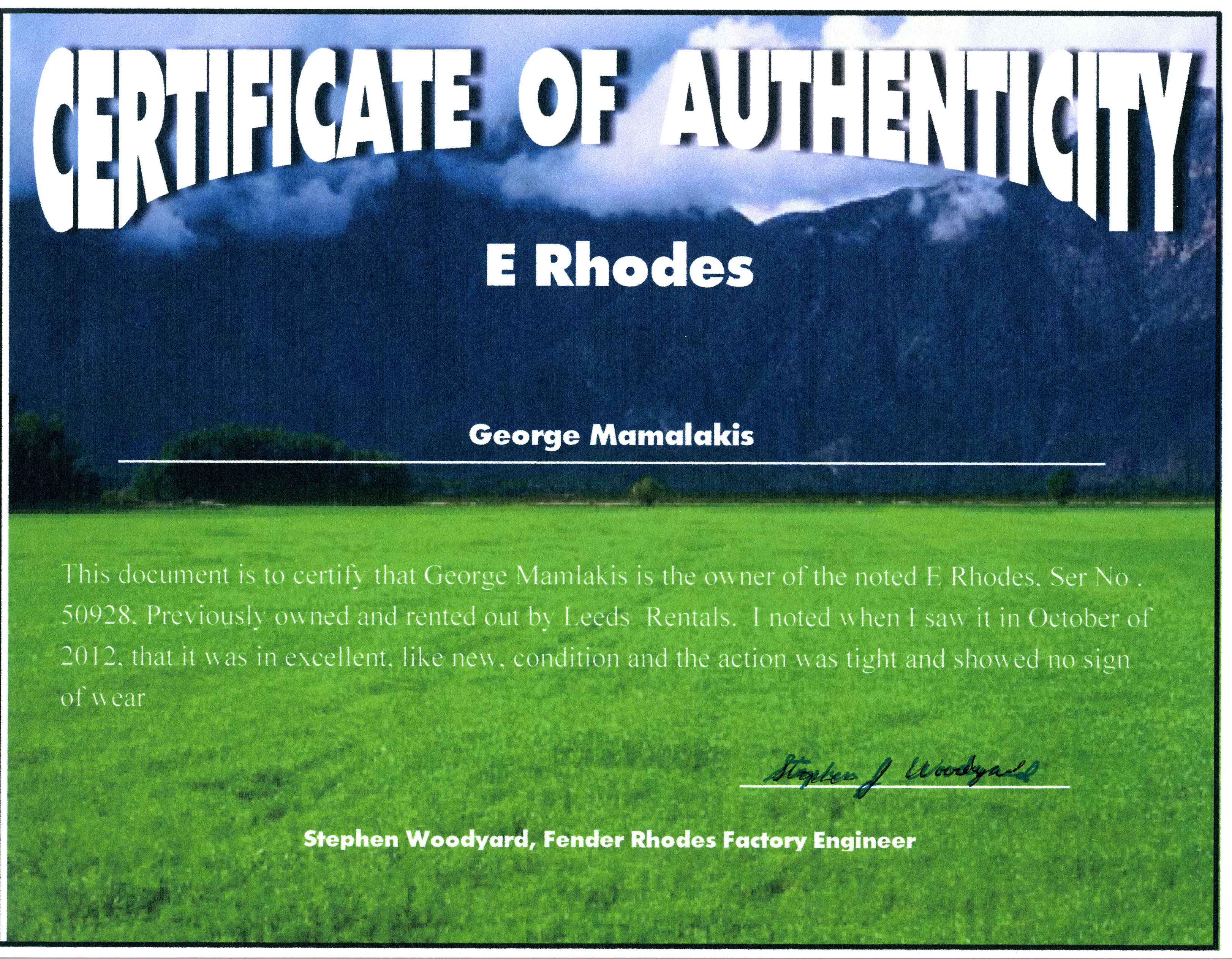 E Rhodes Certificate of Authenticity