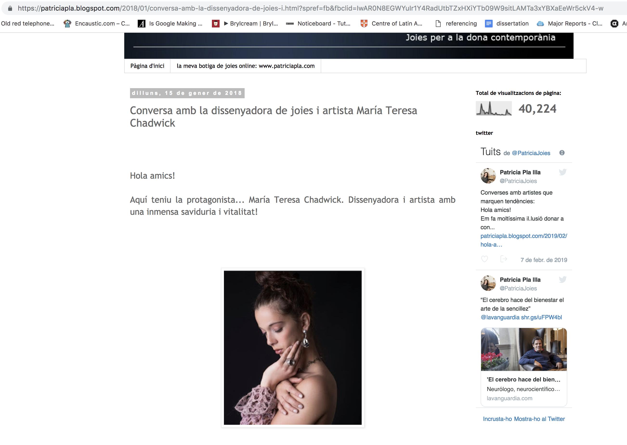 Patricia Pla Blog – 01/18 – Spain