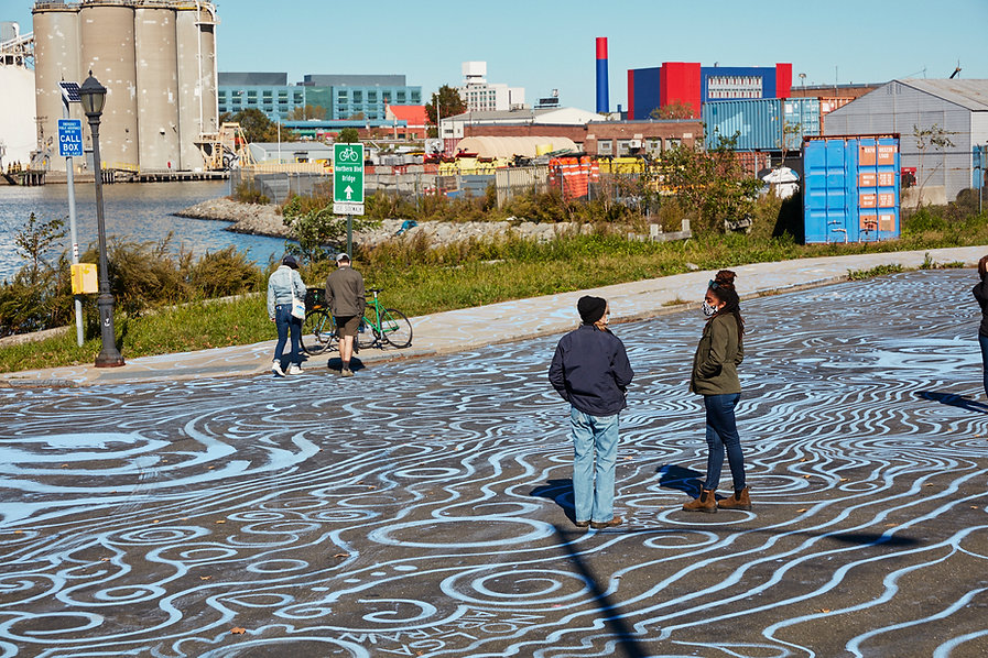 climate change art by Stacy Levy showing the contours of a historical wetland at the edge of Flushing Bay