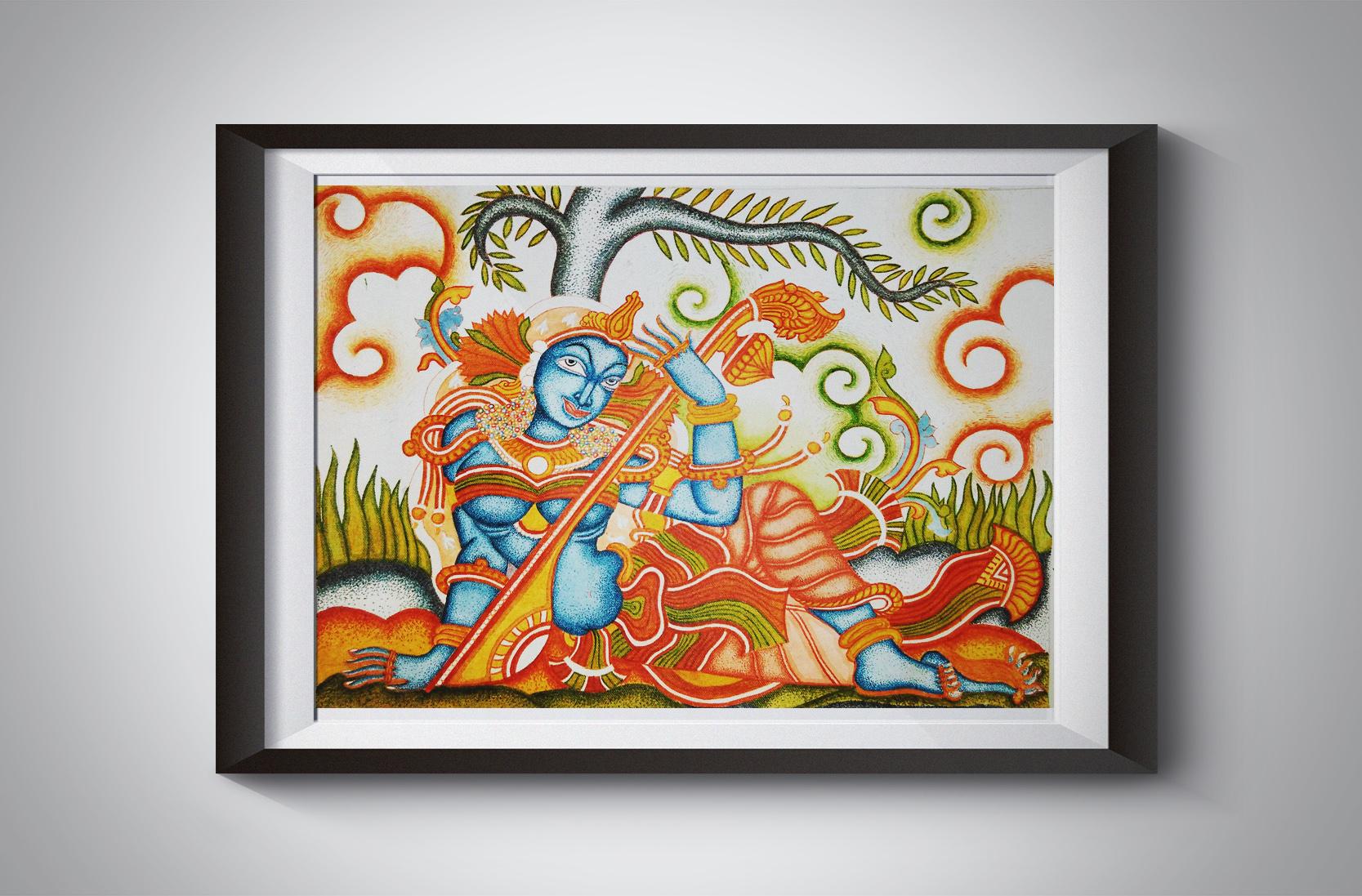 Kerala mural, girl with veena