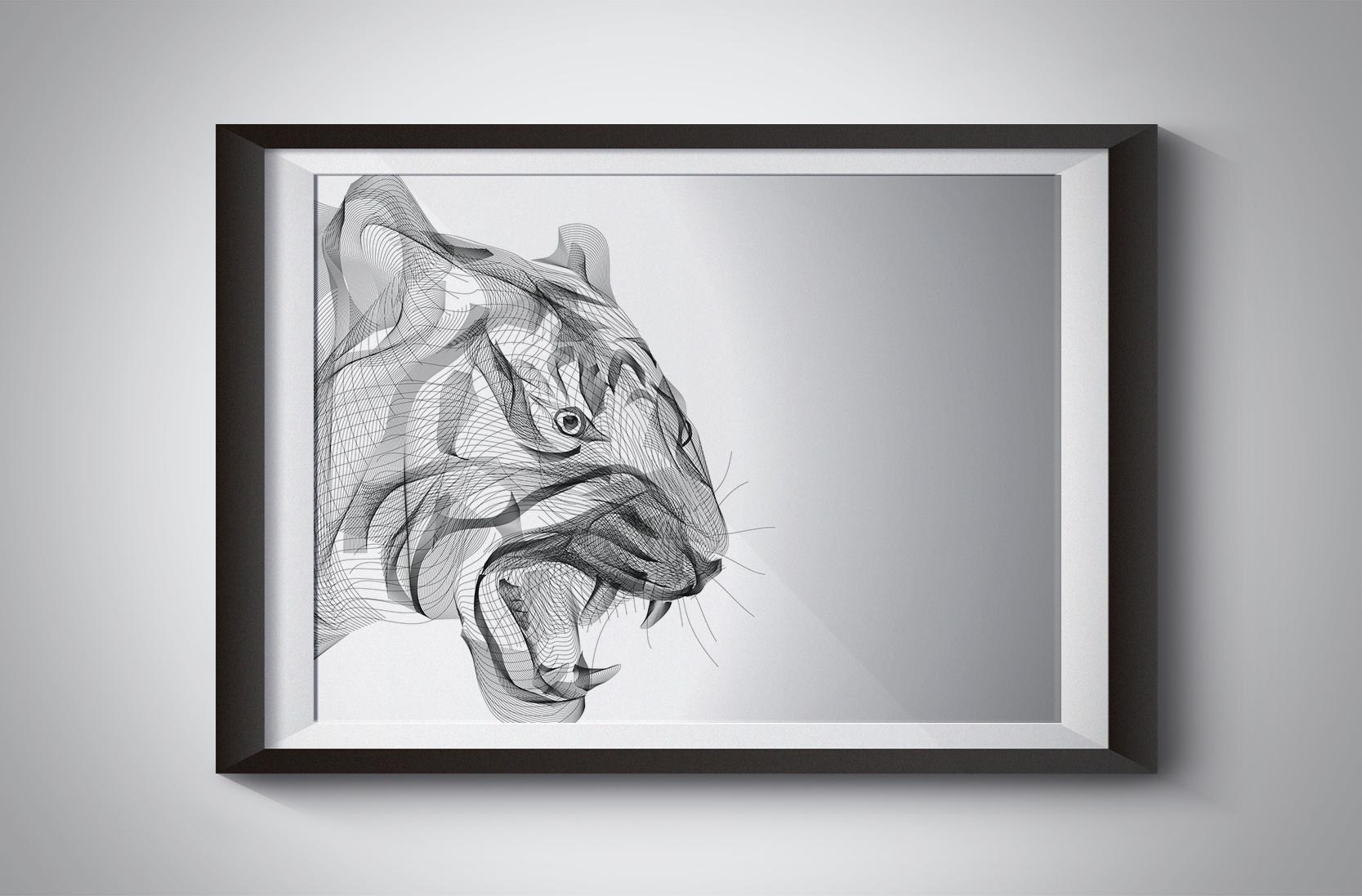 tiger illustration wall art