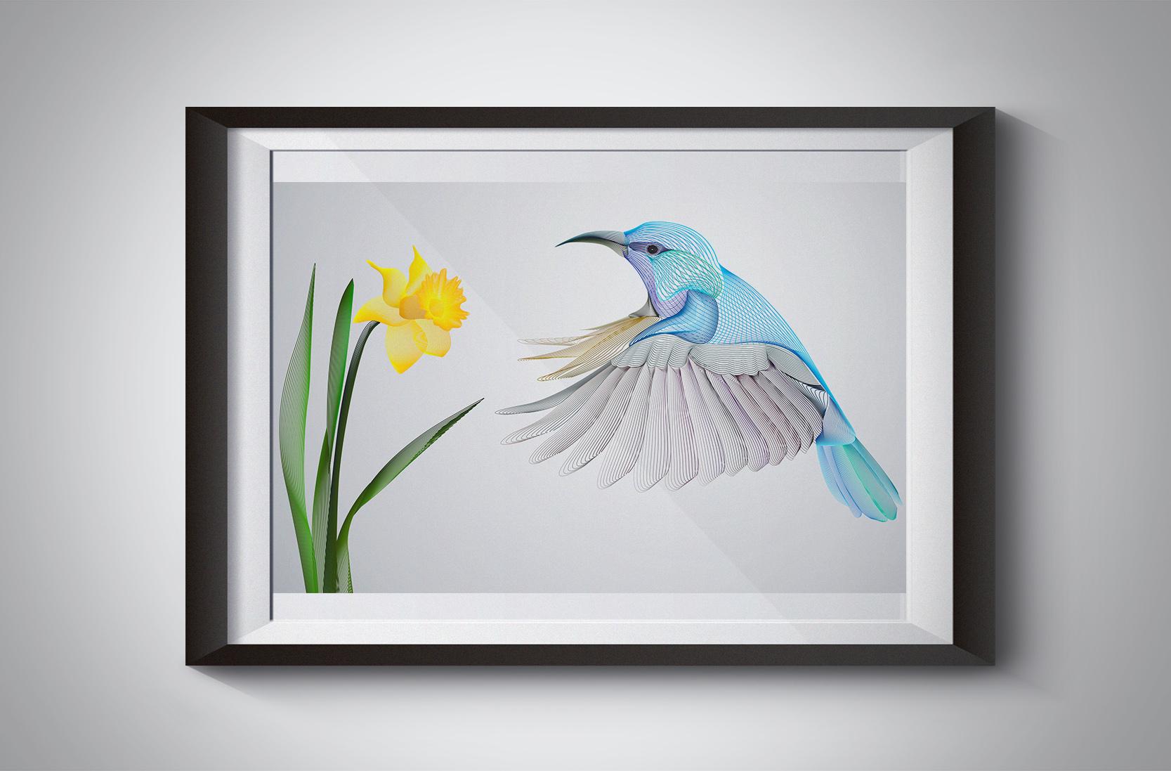 Humming bird waallart illustration