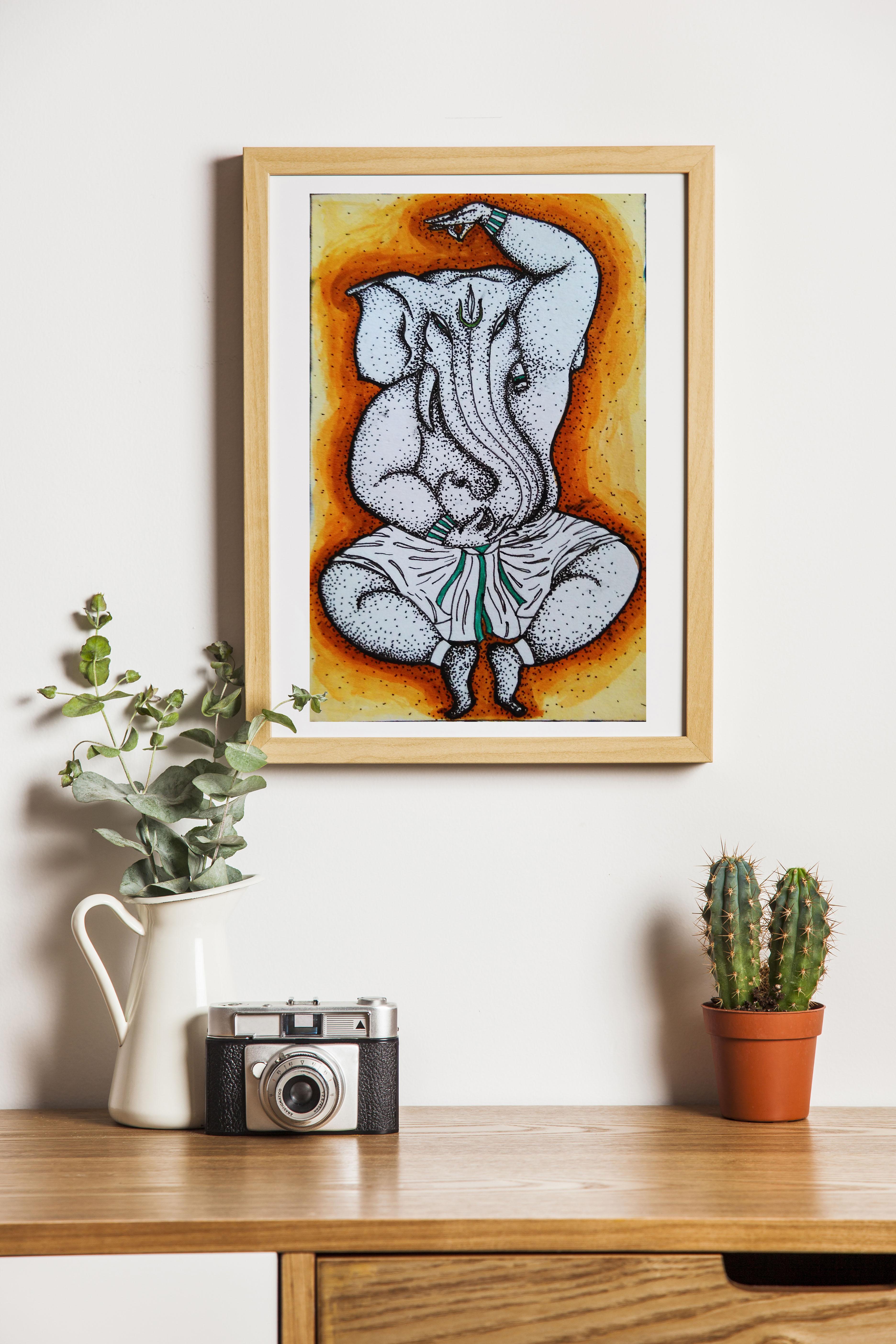 Dancing ganesha painting wall art