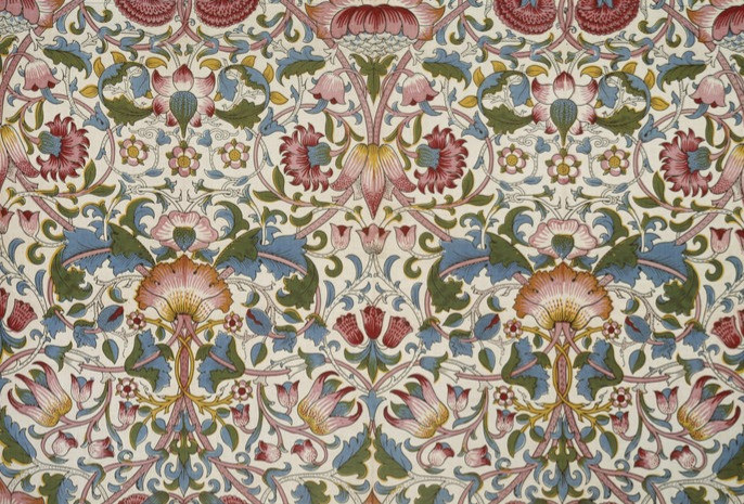 Block printed Cotton textile printed in a floral arts and crafts art nouveau pattern called Lodden by William Morris