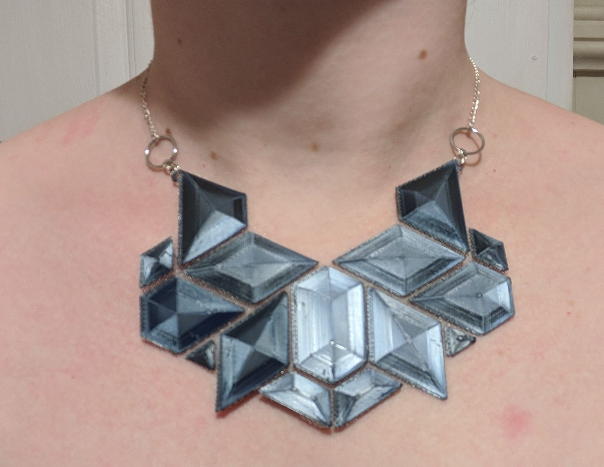 Necklace 3d printed onto fabric