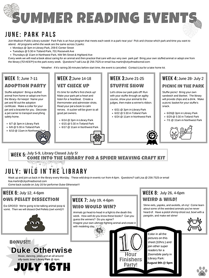 Elementary summer reading events