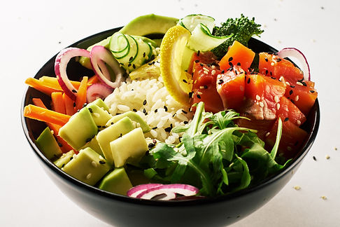 poke bowl with salmon islated on white b