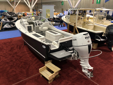 Lounger seating on display at the New England Boat Show