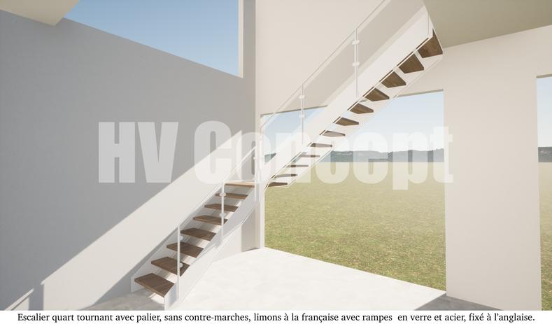 Escalier limons latéraux sur-mesure par Hv Concept
