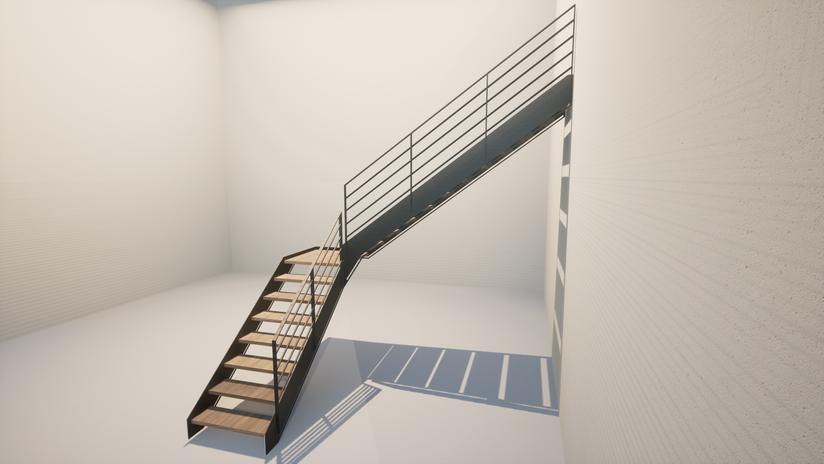 Rampe d'escalier acier sur-mesure.  Hv Concept