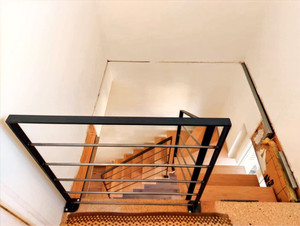 Rampe acier style loft escalier bois sur