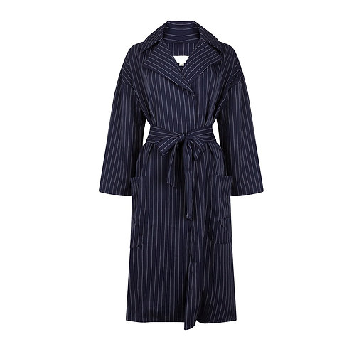 Pinstriped Duster Coat - Blue