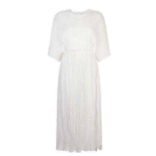 Plissé Long Dress - White