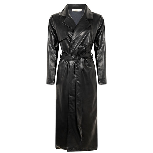 Faux Leather Long Coat