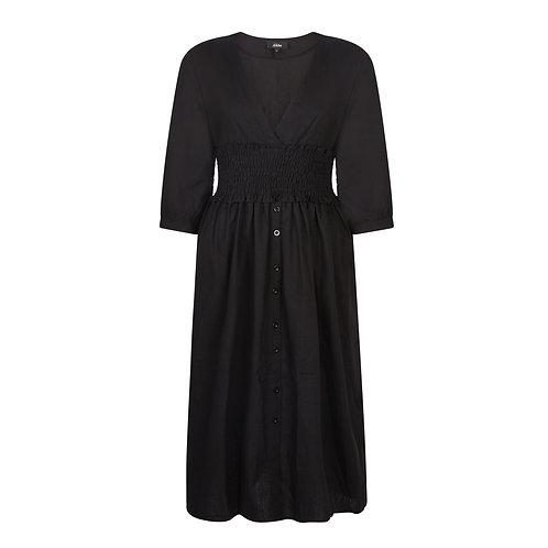 Button Midi Dress - Black