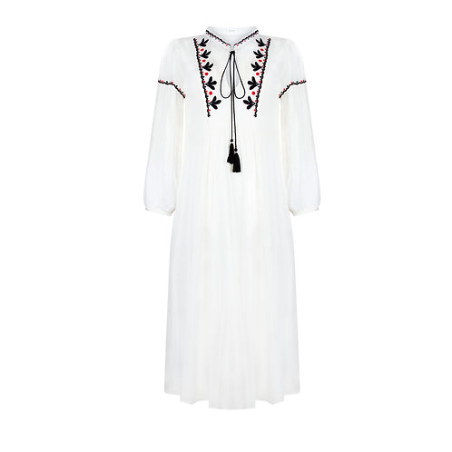 Embroidered Long Dress - White