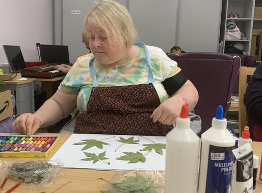 Resident artist Gail begins her first art class.