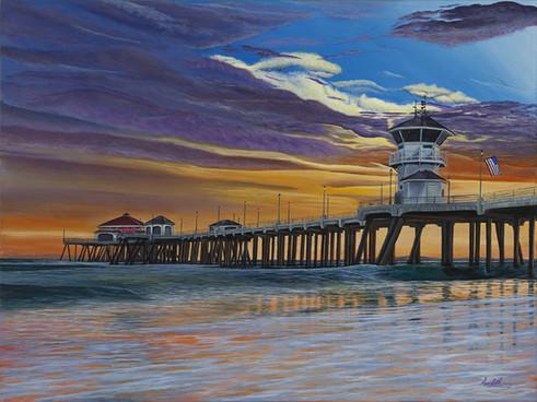 HB Pier Sunset Am Flag v1 9x12 300ppi -