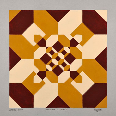 """composizione, serie """"la biblioteca di Babele"""" n. 5, acrilico su cartone, 50x50 cm, 2010"""