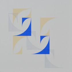 composizione 02b, acrilico e inchiostro su tavola, 80x80 cm, 2016