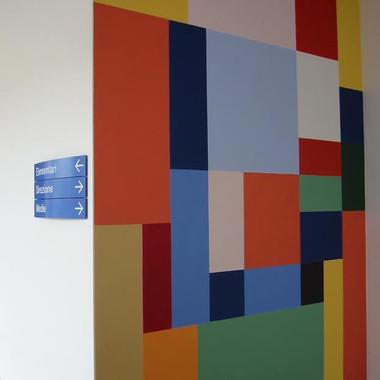 """opera parietale, complesso scolastico """"Andreana"""", Orzinuovi, Brescia, Italia, 2004"""
