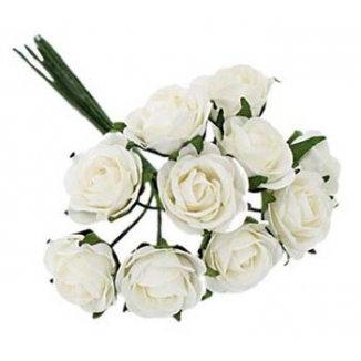 Decoration - White Roses - 8 Roses Bouquet
