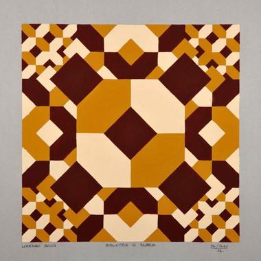 """composizione, serie """"la biblioteca di Babele"""" n. 6, acrilico su cartone, 50x50 cm, 2010"""