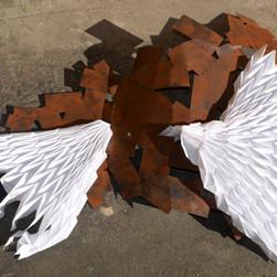scultura, ferro e carta, con Paolo Mezzadri, 2017