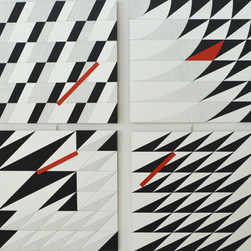composizione 17abcd, polittico, acrilico e inchiostro su tavola, 180x180 cm, 2015