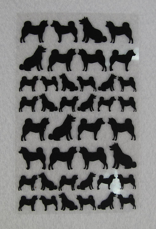 D01288 迷你柴犬剪影貼紙-B款 (黑)