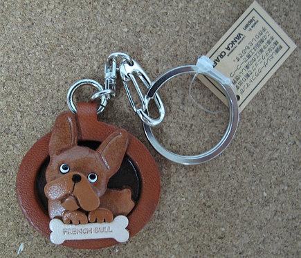 D00702 Vanca 法國鬥牛犬皮革圓型匙扣