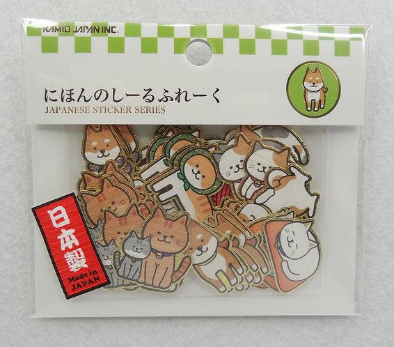 D01689 柴犬+貓貓立體貼紙