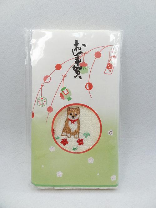 D02074_3 柴犬刺繍毛巾 戌_米黃