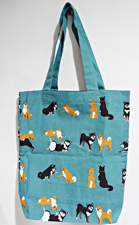 D01799_24 柴田tote bag(藍色赤黑柴)