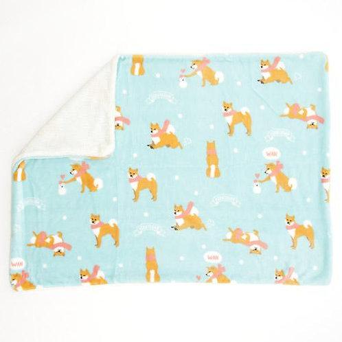 D02525_1 柴犬厚身毛毯_粉藍色頸巾赤柴