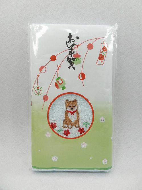 D02074_1 柴犬刺繍毛巾 戌_粉紅