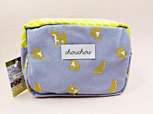 D02563 chouchou 藍色布厚底拉鏈袋