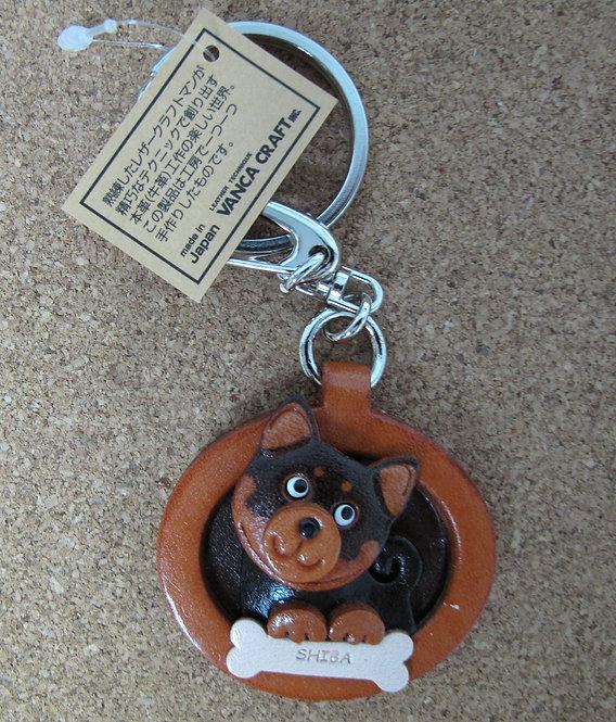 D00698 Vanca 黑柴皮革圓型匙扣