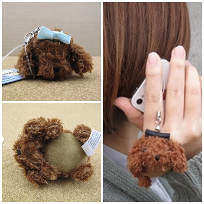D00435 Toy poodle screen cleaner(B) 貴婦犬螢幕清潔電話繩(藍)