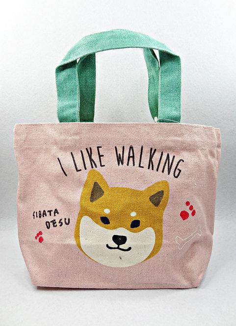 D01746_26 柴田手挽袋_粉紅色I like Walking赤柴