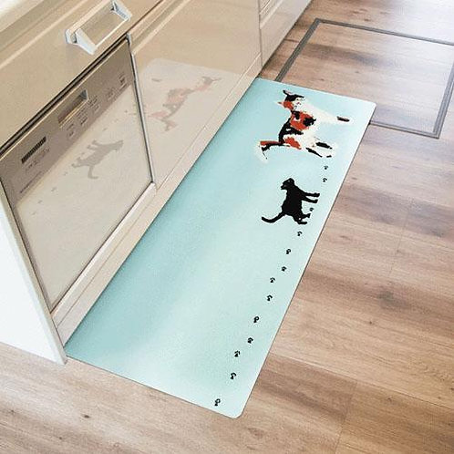 755-834 拭ける北欧風キッチンマット45×120cm ミャオ