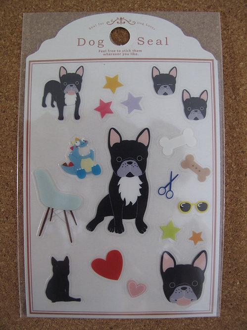 D00154 Dog Seal 法國老虎犬 (黑色)  貼紙