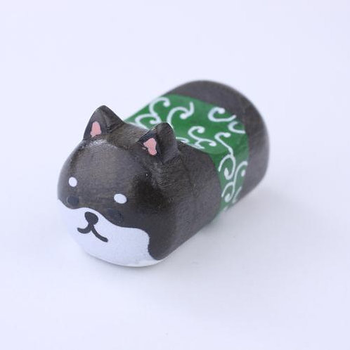 D02264_1 柴犬天然木筷子座_黑