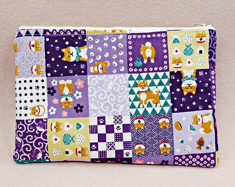 D02682 手造平面拉鏈袋_紫色格仔