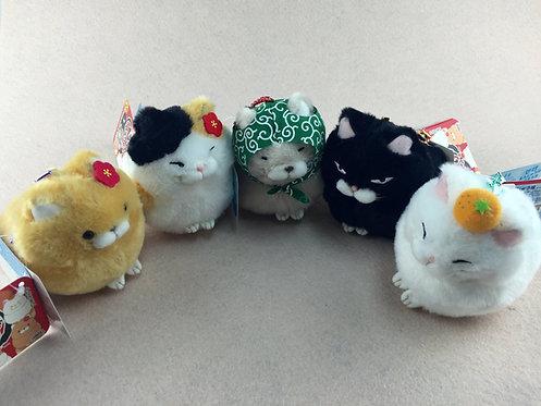 D01420_1 日本直送貓貓毛公仔擺設/吊飾 (一套五隻)