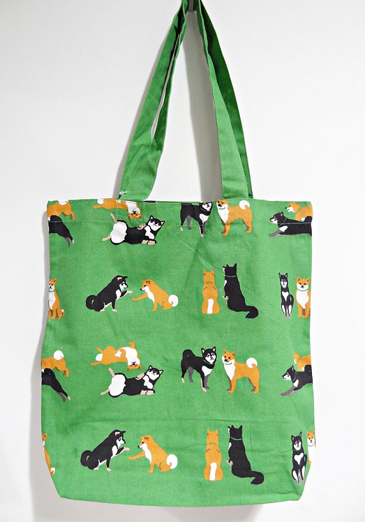 D01799_25 柴田tote bag(綠色赤黑柴)