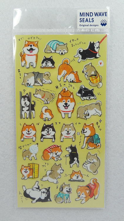 D01442 Mind Wave Seals - 柴犬貼紙