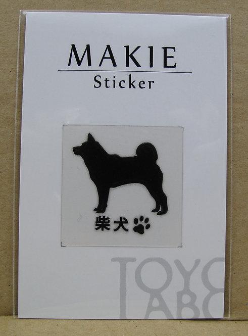 D00614 Makie 柴犬電話貼 (黑A)