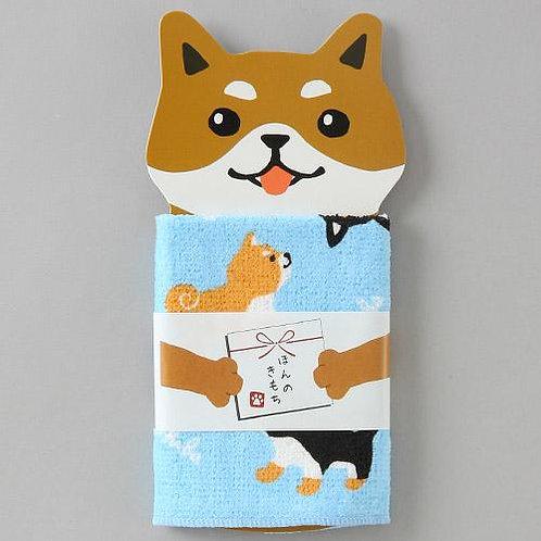 D02332_2 柴犬小毛巾_粉藍