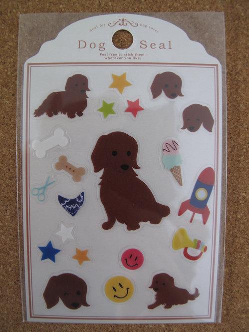 D00143 Dog Seal 臘腸犬 (深啡色) 貼紙